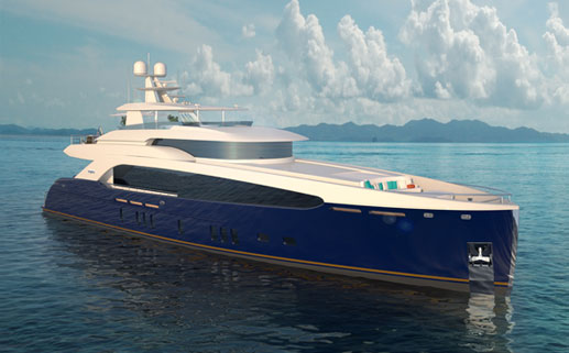 Render of 112' Raised Pilothouse Motor Yacht Concept