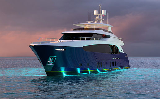 Render of 122' Raised Pilothouse Motor Yacht Concept